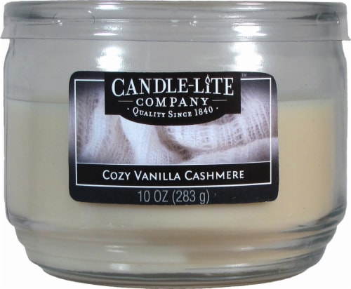 Candle-Lite Cozy Vanilla Cashmere 3-Wick Jar Candle - Cream Perspective: front
