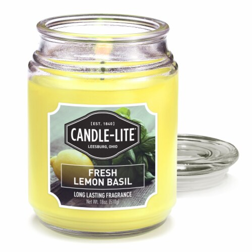 Candle-lite Fresh Lemon Basil Glass Jar Candle Perspective: front