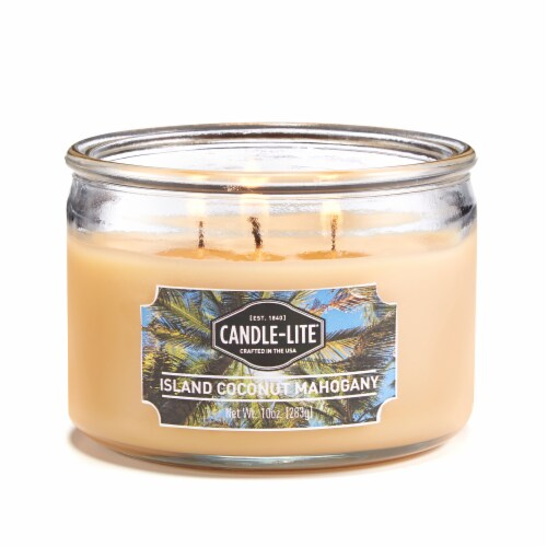 Candle-lite Island Coconut Mahogany Jar Candle Perspective: front