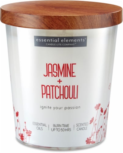 Candle-lite Essential Elements Jasmine and Patchouli Glass Jar Candle - White Perspective: front