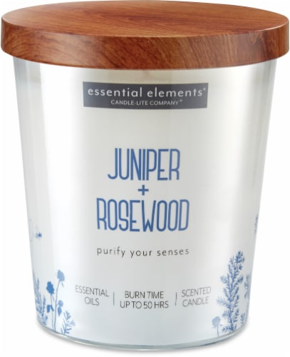 Candle-lite Essential Elements Juniper and Rosewood Glass Jar Candle - White Perspective: front