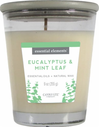 Candle-lite Essential Elements Eucalyptus and Mint Leaf Glass Jar Candle - White Perspective: front