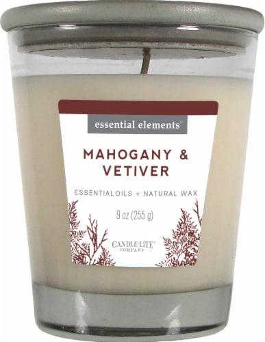 Candle-lite Essential Elements Mahogany and Vetiver Glass Jar Candle - White Perspective: front