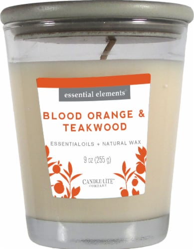 Candle-lite Essential Elements Blood Orange and Teakwood Jar Candle - White Perspective: front