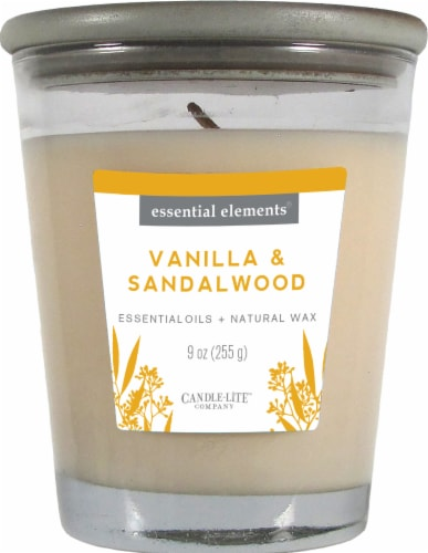 Candle-lite Essential Elements Vanilla and Sandalwood Glass Jar Candle - White Perspective: front