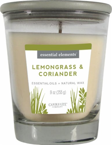 Candle-lite Essential Elements Lemongrass and Coriander Glass Jar Candle - White Perspective: front