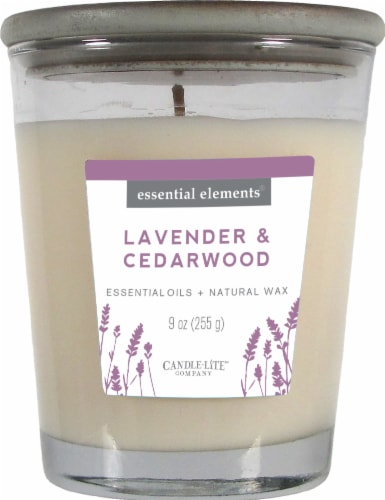 Candle-lite Essential Elements Lavender and Cedarwood Glass Jar Candle Perspective: front
