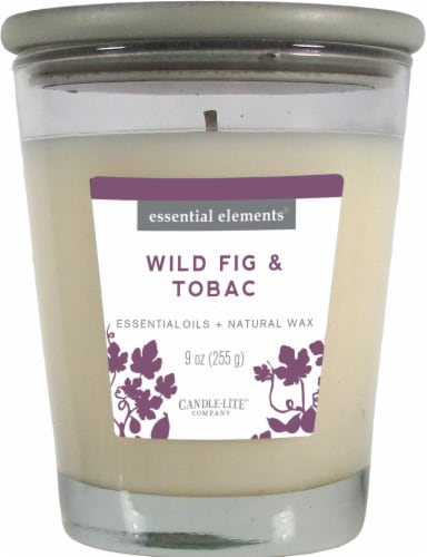 Candle-lite Essential Elements Wild Fig and Tobac Glass Jar Candle - White Perspective: front