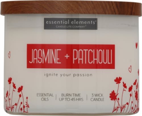 Candle-lite Essential Elements Jasmine & Patchouli Jar Candle - Ivory Perspective: front