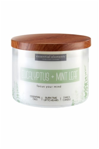 Candle-lite Essential Elements Eucalyptus & Mint Leaf Jar Candle - Ivory Perspective: front