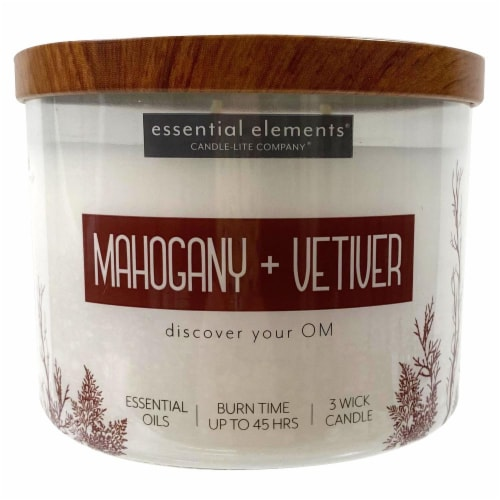Candle-lite Essential Elements Mahogany & Vetiver Jar Candle - Ivory Perspective: front