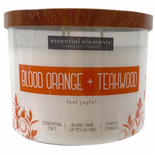 Candle-lite Essential Elements Blood Orange & Teakwood Glass Jar Candle - Ivory Perspective: front