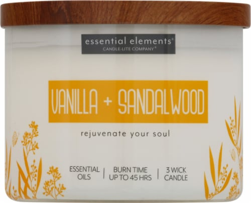 Candle-lite Essential Elements Vanilla & Sandalwood Jar Candle - Ivory Perspective: front