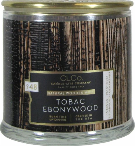 Candle-lite CLCo™ No. 48 Tobac Ebonywood Natural Wooden Wick Glass Jar Candle - White Perspective: front