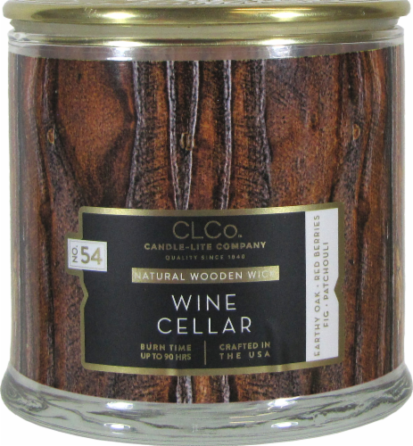Candle-lite CLCo™ Wine Cellar Natural Wooden Wick Glass Jar Candle - White Perspective: front
