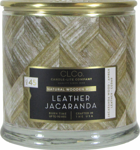 Candle-lite CLCo™ Leather Jacaranda Natural Wooden Wick Jar Candle - White Perspective: front