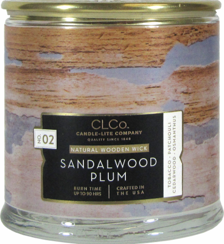 Candle-lite CLCo™ No. 02 Sandalwood Plum Natural Wooden Wick Glass Jar Candle - White Perspective: front