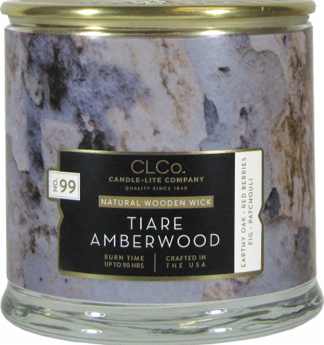 Candle-lite CLCo™ No. 99 Tiare Amberwood Natural Wooden Wick Glass Jar Candle - White Perspective: front