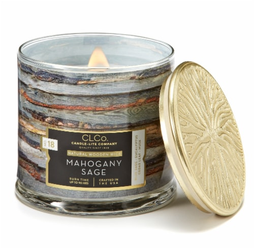 Candle-lite CLCo™ Mahogany Sage Natural Wooden Wick Jar Candle Perspective: front