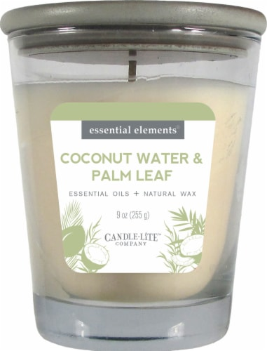 Candle-lite Essential Elements Coconut Water & Palm Leaf Jar Candle - Ivory Perspective: front