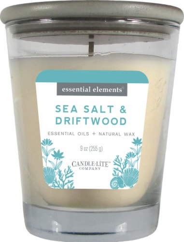 Candle-lite Essential Elements Sea Salt & Driftwood Jar Candle - Ivory Perspective: front