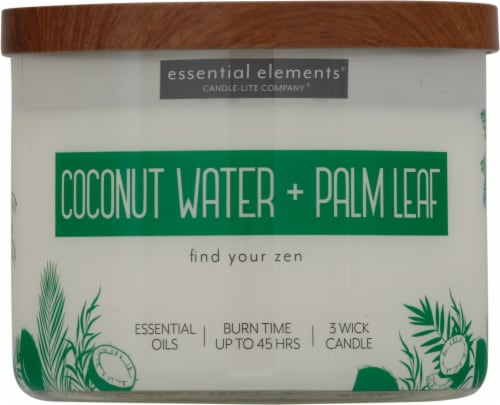 Candle-lite Essential Elements Coconut Water & Palm Leaf 3-Wick Jar Candle - Ivory Perspective: front