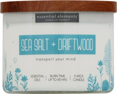 Candle-lite Essential Elements Sea Salt & Driftwood 3-Wick Jar Candle - Ivory Perspective: front