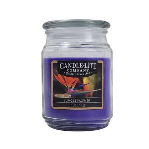 Candle-lite Jungle Flower Glass Jar Candle Perspective: front