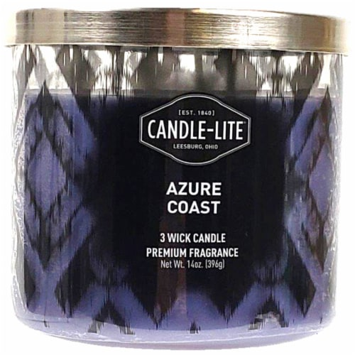 Candle-lite Azure Coast Scent 3-Wick Candle - Purple Perspective: front