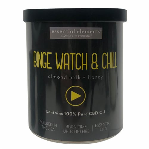 Candle-lite® CBD Essential Elements Binge Watch & Chill Almond Milk + Honey 2-Wick Candle Perspective: front