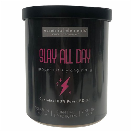 Candle-lite Essential Elements Slay All Day Grapefruit + Ylang Ylang 2-Wick Candle - Black Perspective: front