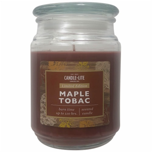 Candle-lite Fall Maple Tobac Jar Candle Perspective: front