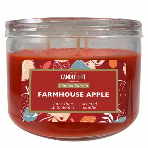 Candle-lite Farmhouse Apple Jar Candle - Red Perspective: front