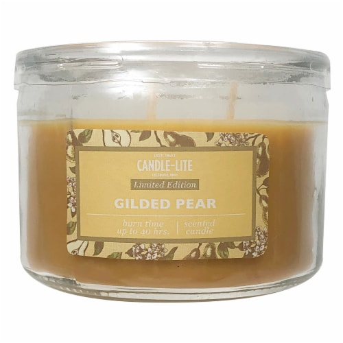 Candle-lite Gilded Pear Jar Candle - Yellow Perspective: front