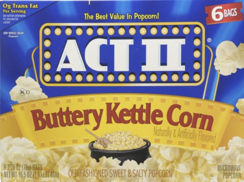 Act II Buttery Kettle Corn Popcorn 6 Count Perspective: front