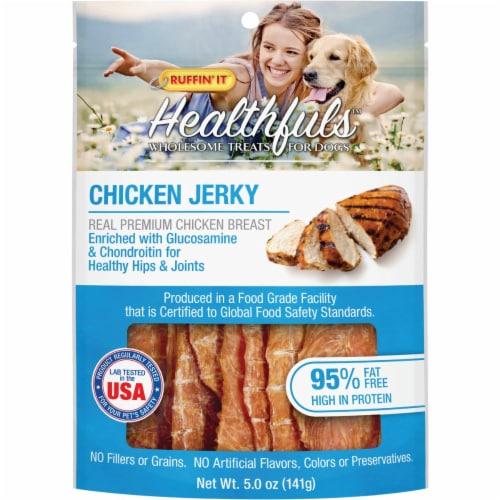 Ruffin' it Healthfuls Chicken Flavor Jerkey Dog Treat, 5 Oz. 08322 Perspective: front