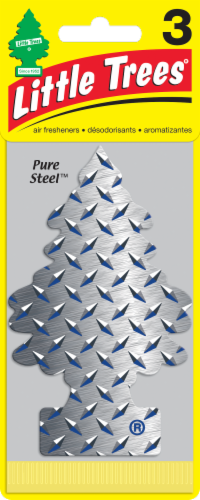 Little Trees Pure Steel Scent Car Air Freshener - 3 Pack - Silver Perspective: front