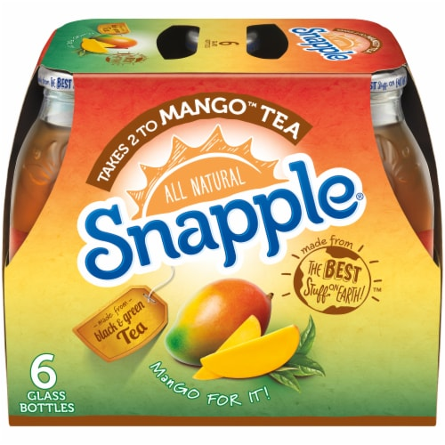 Snapple All Natural Takes 2 to Mango Tea Perspective: front