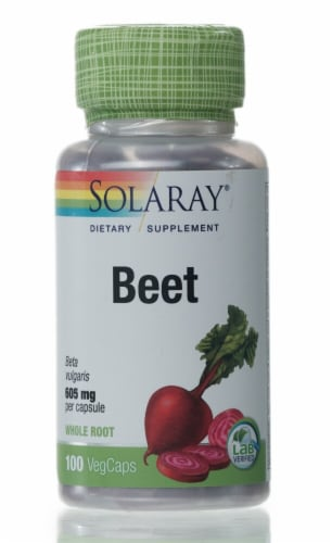 Solaray Beet Root Vegetarian Capsules 605mg Perspective: front