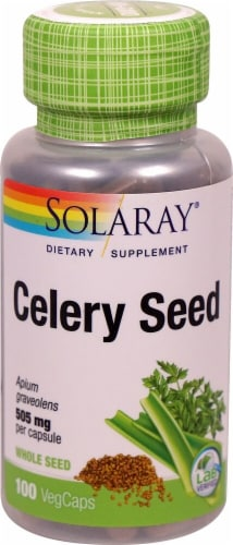 Solaray Celery Seed Vegetarian Capsules 505mg Perspective: front