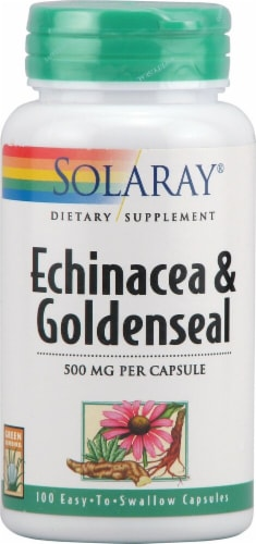 Solaray Echinacea and Goldenseal Capsules Perspective: front