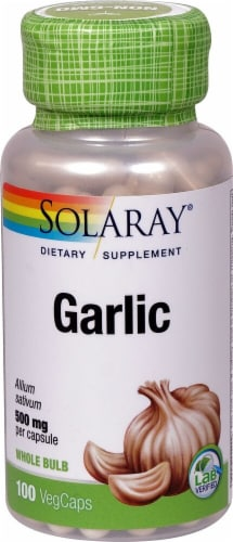 Solaray Garlic Vegetarian Capsules Perspective: front