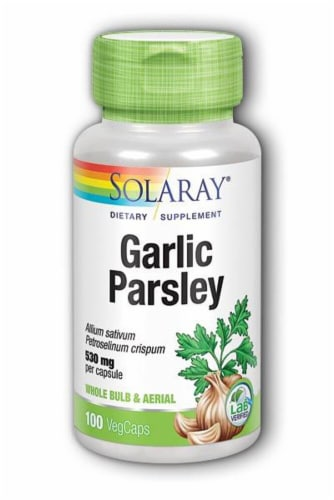 Solaray Garlic Parsley Dietary Supplement Vegetarian Capsules 530mg Perspective: front