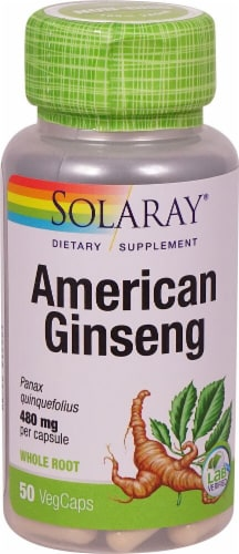 Solaray American Ginseng Vegetarian Capsules 480mg Perspective: front