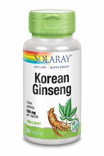 Solaray Korean Ginseng Root 550mg Vegetarian Capsules Perspective: front