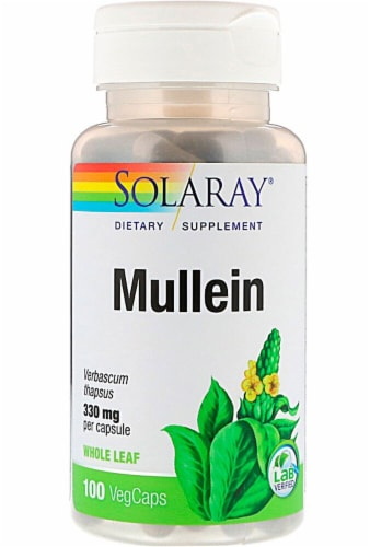 Solaray Mullein Leaves Vegetarian Capsules 330mg Perspective: front