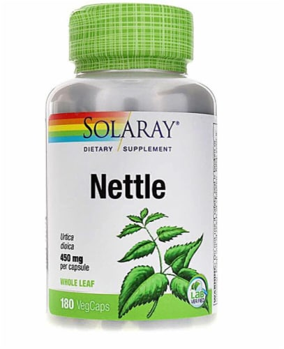 Solaray Nettle Whole Leaf Vegetarian Capsules 450mg Perspective: front