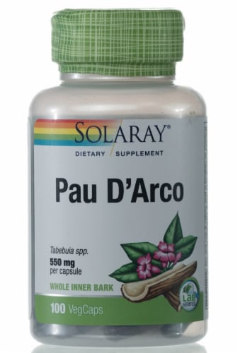Solaray Pau D'Arco Vegetarian Capsules 550mg Perspective: front
