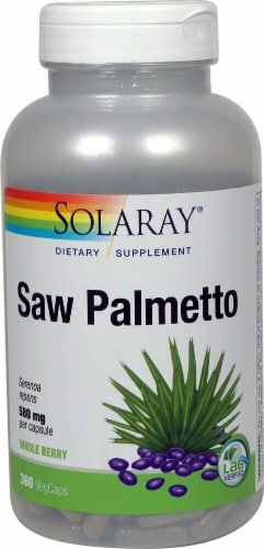 Solaray Saw Palmetto Whole Berry Vegetarian Capsules 580mg Perspective: front