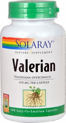 Solaray Nut Valerian Capsules 470mg Perspective: front